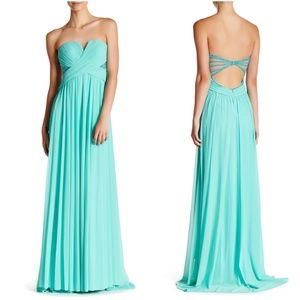 TERANI COUTURE Cutout Strapless Gown